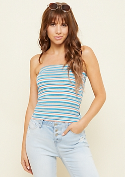 Aqua Striped Pattern Ribbed Knit Cropped Tube Top