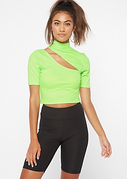 Neon Green Ribbed Knit Mock Neck Cutout Crop Top