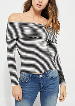 Gray Striped Fold Off Shoulder Top