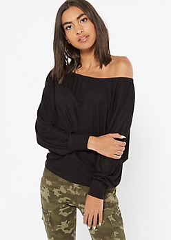 Black Ribbed Knit Slouchy Off The Shoulder Top