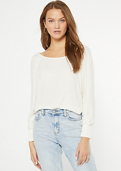 Ivory Ribbed Knit Slouchy Off The Shoulder Top