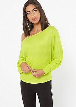 Lime Green Ribbed Knit Slouchy Off The Shoulder Top