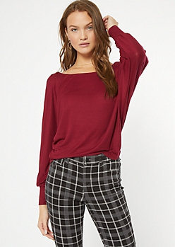 Burgundy Ribbed Knit Slouchy Off The Shoulder Top