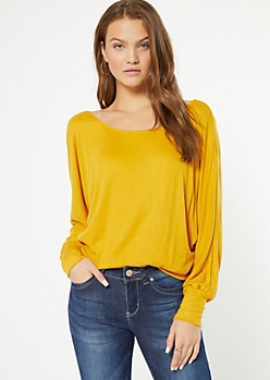 Mustard Ribbed Knit Slouchy Off The Shoulder Top
