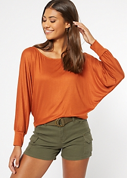 Burnt Orange Ribbed Knit Slouchy Off The Shoulder Top