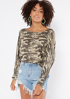 Camo Print Ribbed Knit Slouchy Off The Shoulder Top