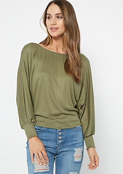 Olive Ribbed Knit Slouchy Off The Shoulder Top
