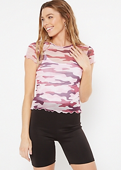 Purple Camo Print Mesh Lettuce Trim Top