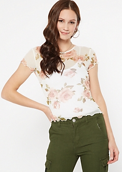 Ivory Rose Print Mesh Lettuce Edge Top