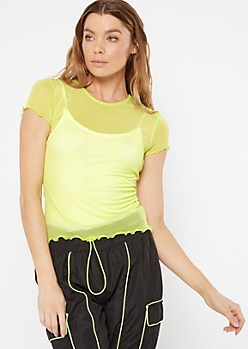 Neon Green Mesh Lettuce Trim Top