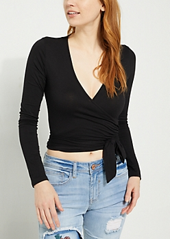Black Knit Wrap Crop Top