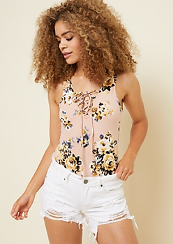Pink Floral Print Sleeveless Lace Up Bodysuit