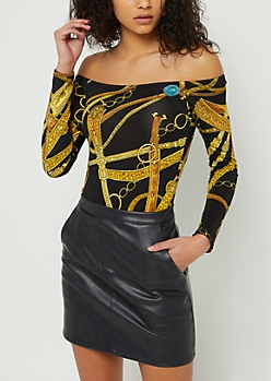 Black Off Shoulder Chain Print Bodysuit