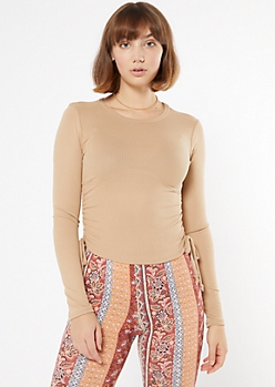 Taupe Ruched Sides Ribbed Knit Tee