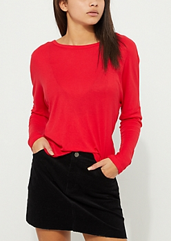 Red Knotted Open Back Drop Shoulder Top