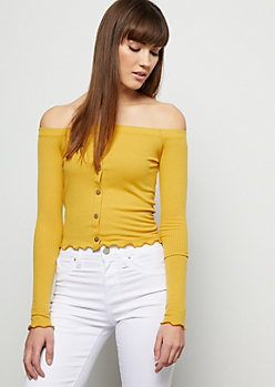 Mustard Ribbed Knit Off The Shoulder Button Down Tee