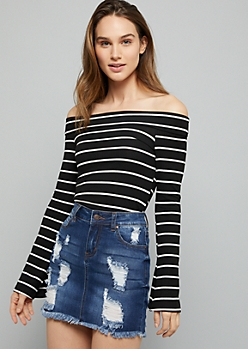 Black Striped Off The Shoulder Ribbed Knit Crop Top