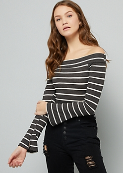 Gray Striped Off The Shoulder Ribbed Knit Crop Top