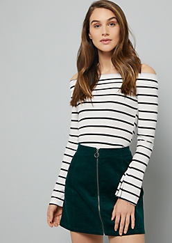 White Striped Off The Shoulder Ribbed Knit Crop Top