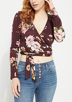 Floral Tie-Front Burgundy Knit Crop