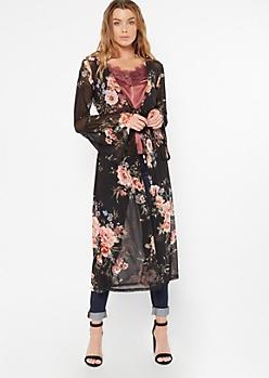 Black Mesh Floral Print Front Tie Kimono