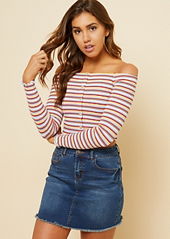 Red Striped Off Shoulder Long Sleeve Crop Top