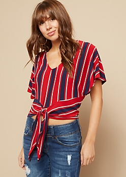 Red Striped Pattern Fluttery Tie Front Crop Top