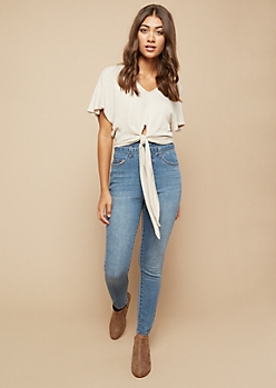 Cream Waffle Knit Fluttery Tie Front Crop Top