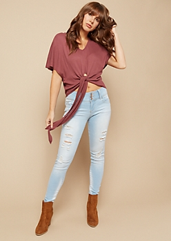 Burgundy Waffle Knit Fluttery Tie Front Crop Top
