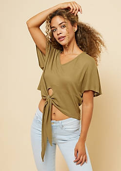 Olive Waffle Knit Fluttery Tie Front Crop Top