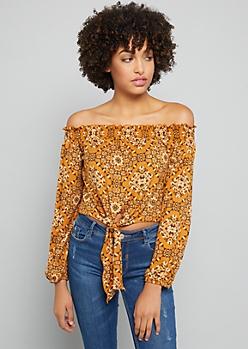 Burnt Orange Handkerchief Pattern Off the Shoulder Crop Top