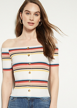 White Striped Off The Shoulder Button Down Top