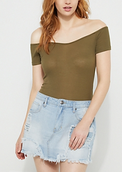 Dark Olive Off Shoulder Ribbed Knit Bodysuit