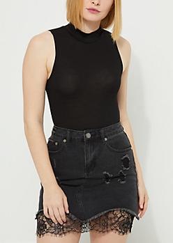 Black Mock Neck Soft Knit Bodysuit