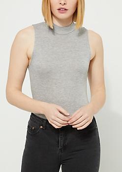 Heather Gray Mock Neck Soft Knit Bodysuit