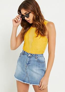 Dark Yellow Daisy Lace Mesh Bodysuit