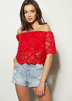 Red Off The Shoulder Lace Crop Top