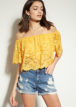 Mustard Off The Shoulder Lace Crop Top