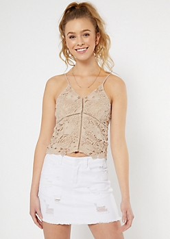 Taupe Crochet Bodice Tank Top