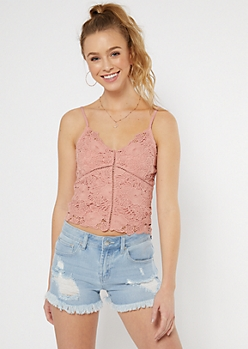 Light Pink Crochet Bodice Tank Top