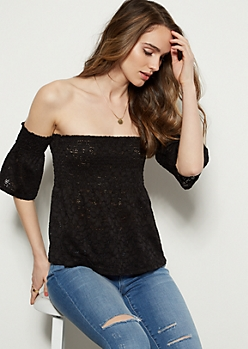 Black Lace Smocked Off The Shoulder Top