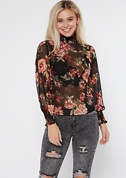 Black Sheer Floral Print Mock Neck Top