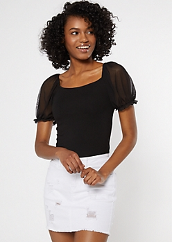 Black Mesh Puff Sleeve Square Neck Top