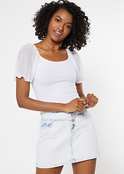 White Mesh Puff Sleeve Square Neck Top