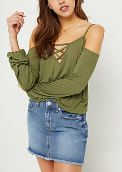 Dark Olive Cold Shoulder Bubble Long Sleeve Tee