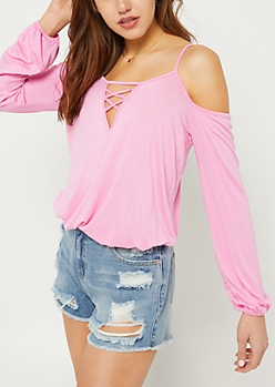 Pink Cold Shoulder Bubble Long Sleeve Tee