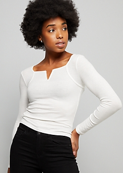 White Caged V Neck Ribbed Knit Top