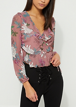 Pink Floral Mesh Ruffle Wrap Top