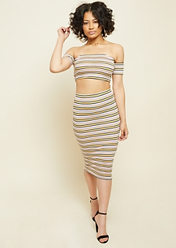 Yellow Stripe Pattern Ribbed Knit Off Shoulder Crop Top