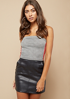 Houndstooth Varsity Striped Sleeveless Crop Top
